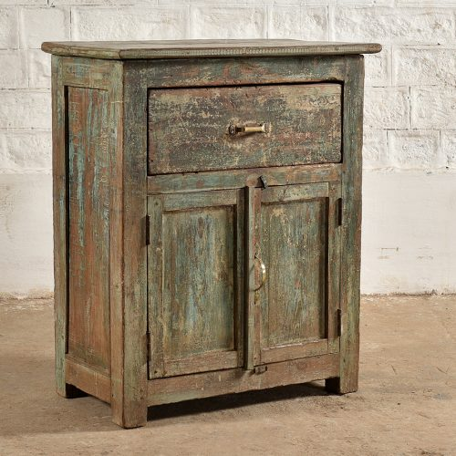 Original green 2-door, 1-drawer cabinet