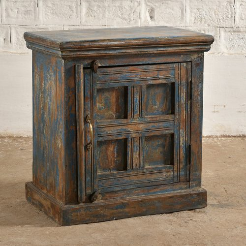 Worn blue cabinet with inset square design