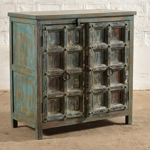 Blue 2-door cabinet made from original teak wood doors