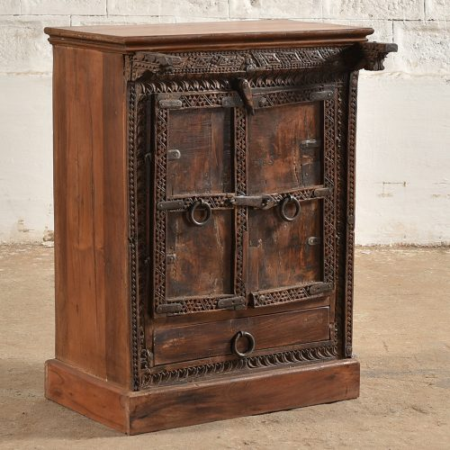 Original carved wooden cabinet with 2-doors and a drawer