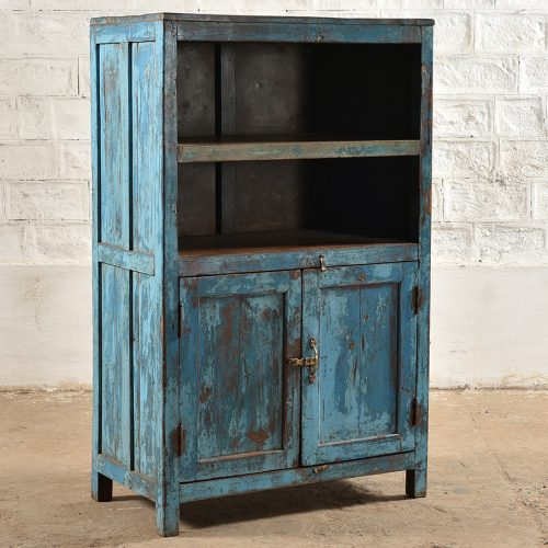 Original blue 2-door display cabinet with shelves