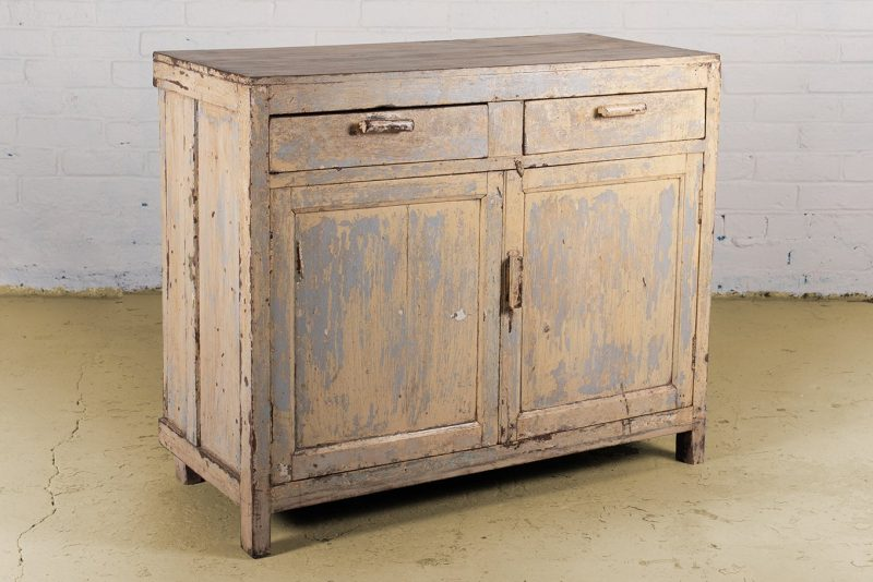 Original wooden cabinet with 2-doors and 2-drawers