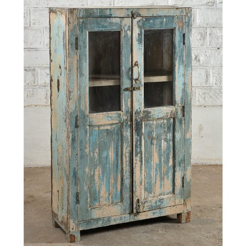 Original faded blue display cabinet with 2-doors