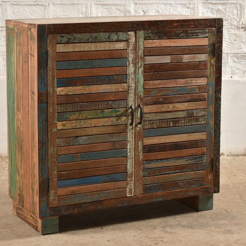 Colourful, square edged cabinet made from reclaimed wood