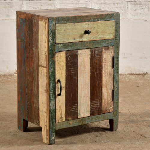 Colourful reclaimed wooden bedside cabinet - handle on left
