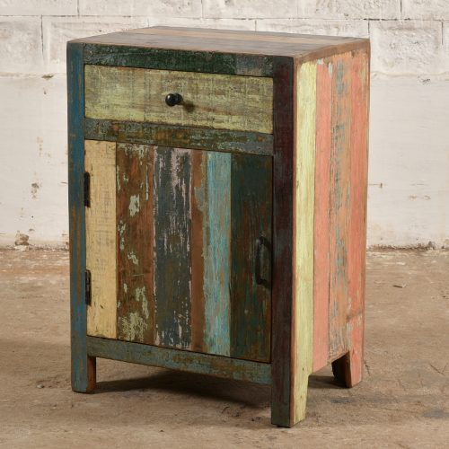Colourful reclaimed wooden bedside cabinet - handle on right