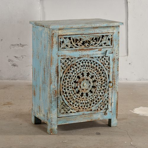 Light blue carved wooden cabinet with 1-door & drawer