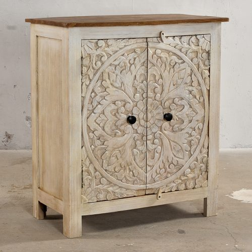 Vintage white 2-door cabinet with floral carvings