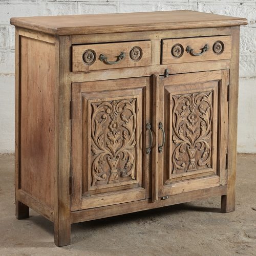 Natural wooden, carved cabinet with 2-doors & 2-drawers