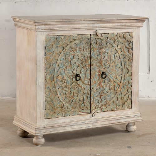 White wooden cabinet with 2 carved doors