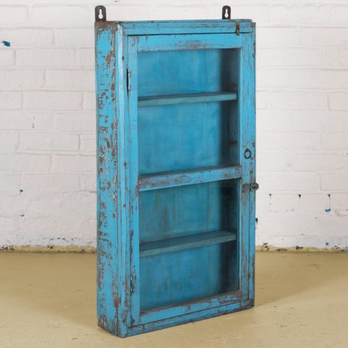 Original aqua blue wallhanging display cabinet