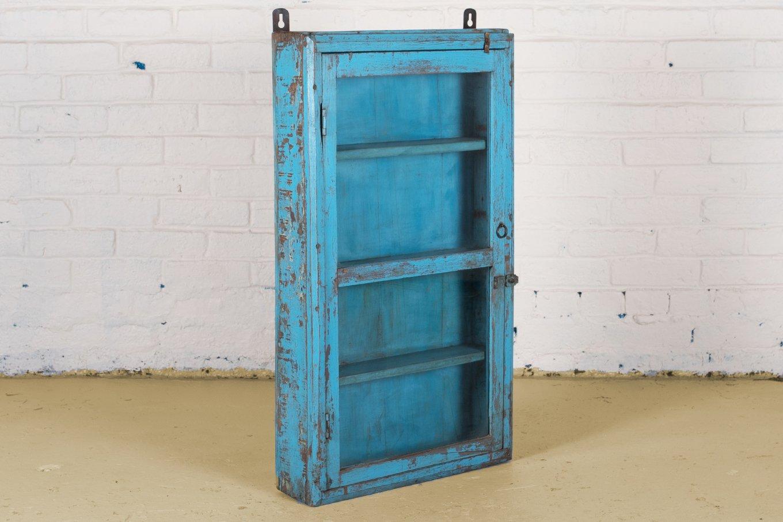 Original aqua blue wallhanging display cabinet