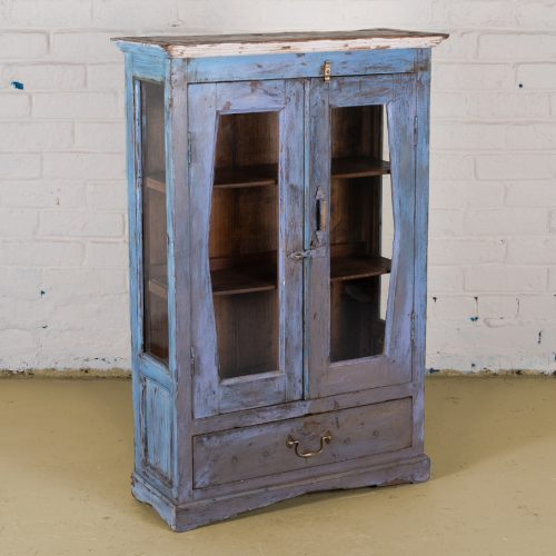 Original wooden display cupboard with 2-shelves and a drawer