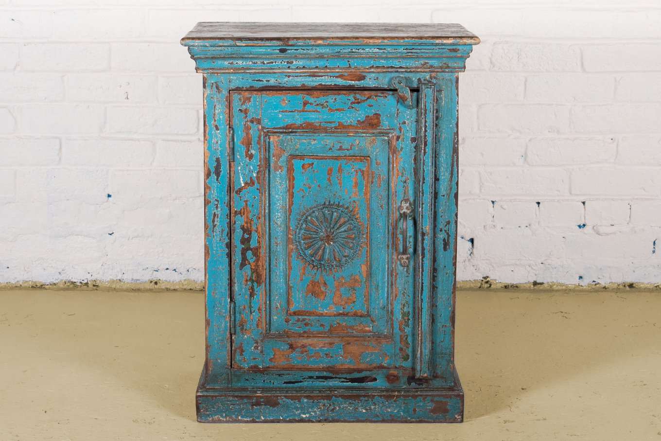 Old vintage blue, small wooden cabinet