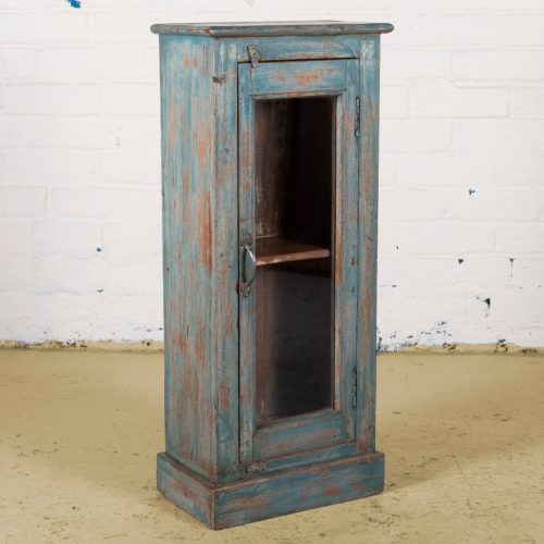 Vintage wooden cabinet with glass display door