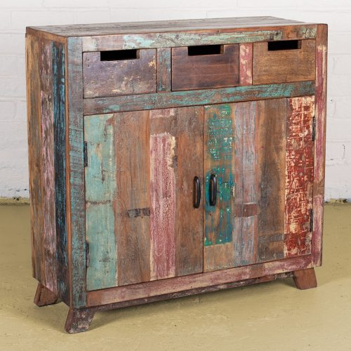 Reclaimed wooden sideboard with 3-drawers and 2-doors