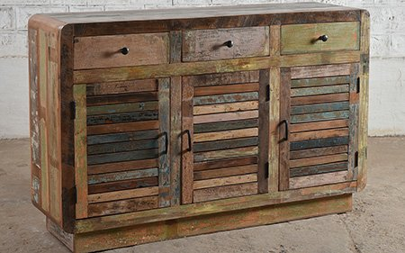 reclaimed 3 drawer sideboard wood upcycled