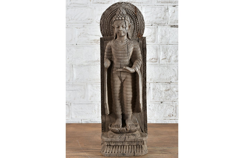 ST00003 Serene Aged Wooden Statue