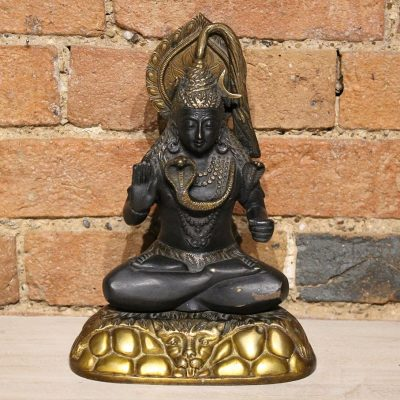 Black statue depicting Shiva made from bronze