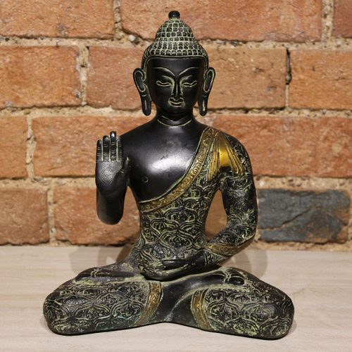 Black seated Buddha made from brass