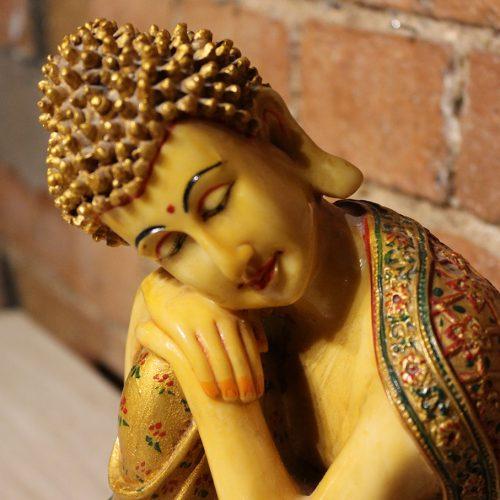 Handpainted, resting Buddha