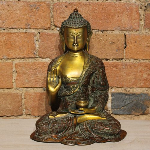 Gold & Red seated brass Buddha