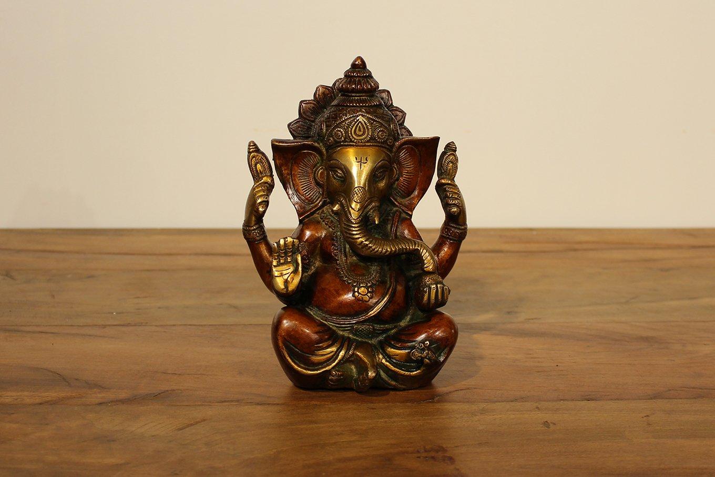 ST00021 Meditating Brass Ganesh