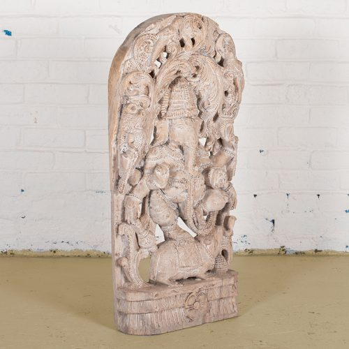 Lord Ganesha intricately carved from wood