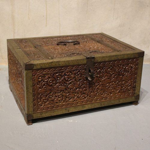 Original, intricately carved dowry chest