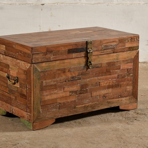 Chest made from reclaimed wood with mosaic in brick tile pattern