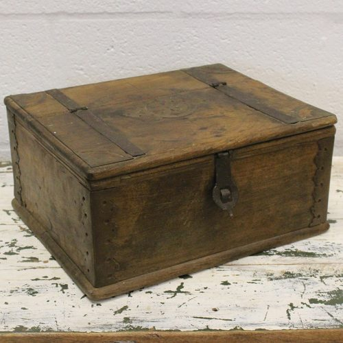 Old wooden chest with engraved brass detailing