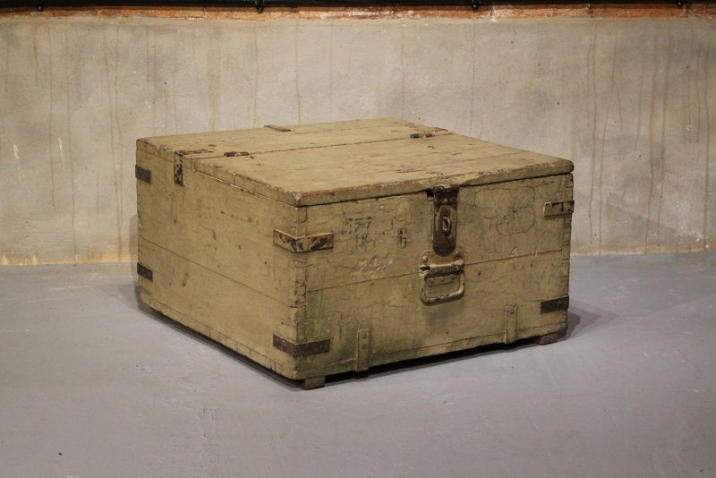 Old trunk with original, aged white paint