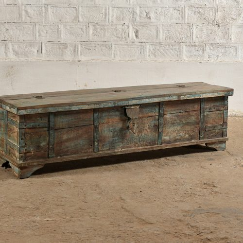 Original long wooden trunk