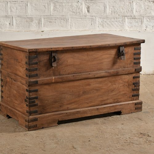 Rustic wooden storage box with iron fixtures