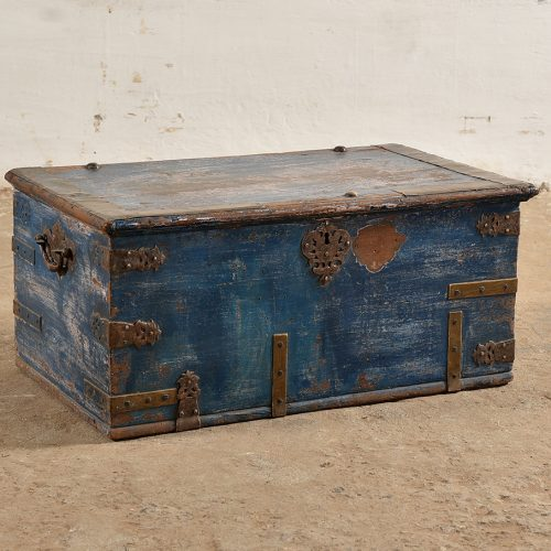 Original royal blue chest with intricate fixtures