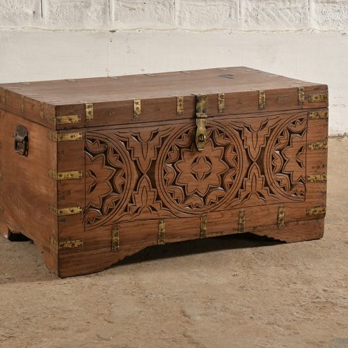 Original wooden chest with star design and brass fixings