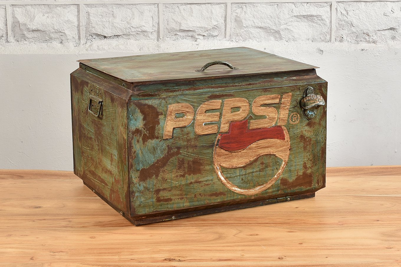 Green metal cooler box with bottle opener and carry handles