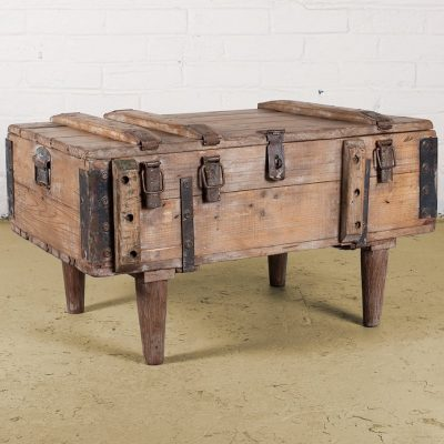 Original army chest converted to a wooden coffee table