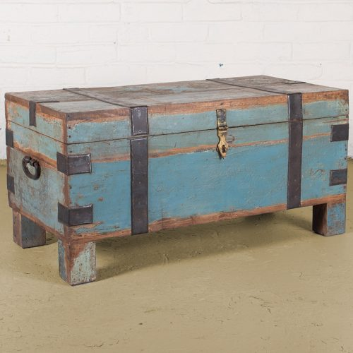 Original wooden storage trunk in aged blue