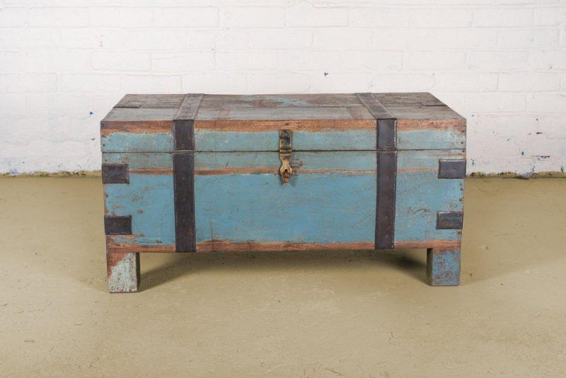 Original wooden storage trunk in aged blue