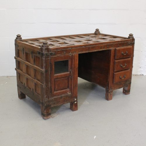 Grand desk made from old teak wood sandook (Indian treasure chest)