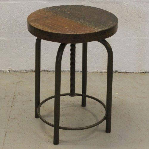 Metal framed stool with adjustable reclaimed wooden top