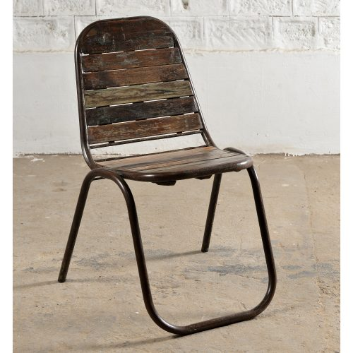 Metal chair with wooden slat inserts