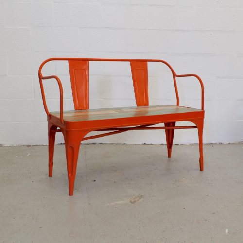 Orange metal bench with reclaimed wooden seat