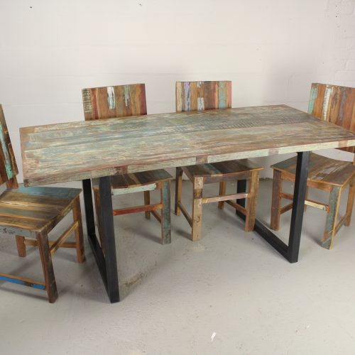 Reclaimed colourful dining table with square metal frame