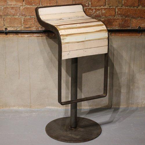 Industrial bar stool with wooden seat and curved metal frame