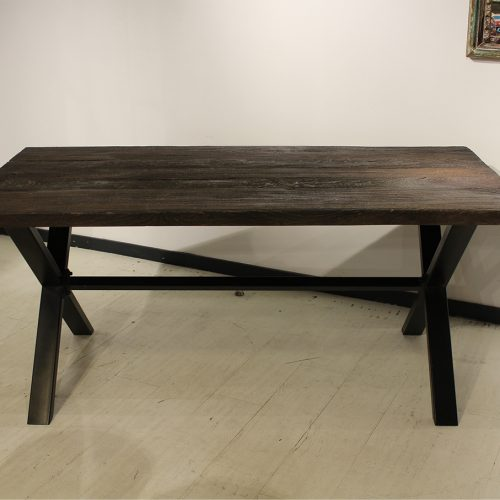 Dining table with reclaimed teak wood top and iron base