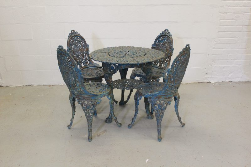 Heavy Vintage Blue Cast-iron Table Set with 4 Chairs
