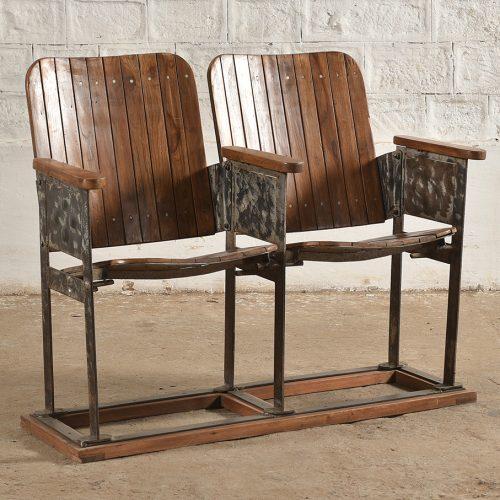 Pair of original wood and iron cinema seats