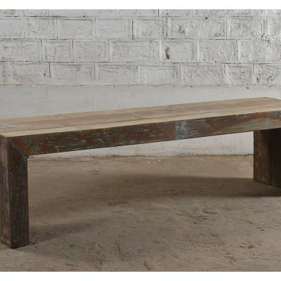 Colourful reclaimed wooden bench